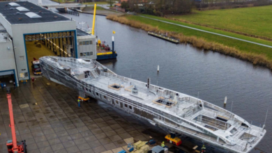 Photo of Royal Huisman's Project Phi structure is coming together